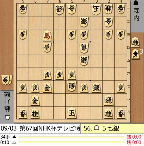 9月3日NHK杯56手目棋譜