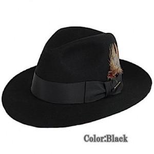 Stetson ステットソン Temple Fur Felt フェドーラハット Black 中折れ帽 55㎝  【並行輸入品】
