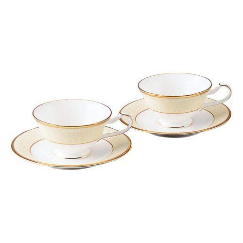ノリタケ(Noritake) ホワイトパレス ティー・コーヒー碗皿ペア