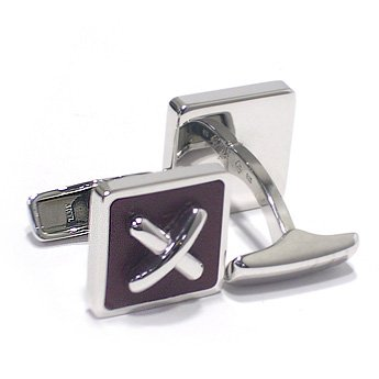 ダンヒル(Dunhill) LEATHER SQUARE BUTTON CUFFLINKS