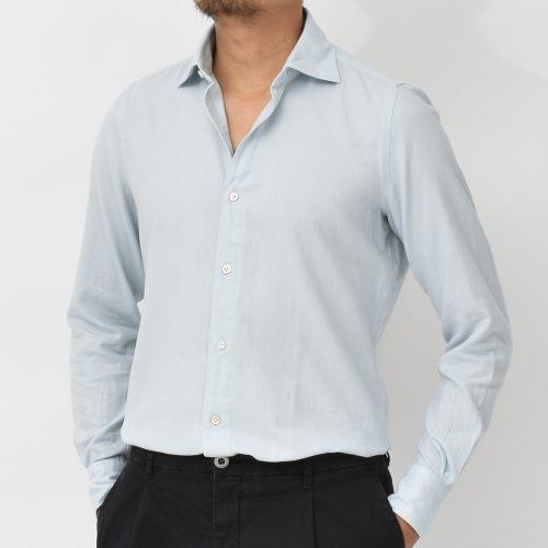 フィナモレ(Finamore) ルイジ トーキョー コットンライトネルワイドカラーシャツ