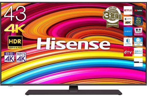ハイセンス(HISENSE) 43V型 4Kチューナー内蔵液晶テレビ 43A6800