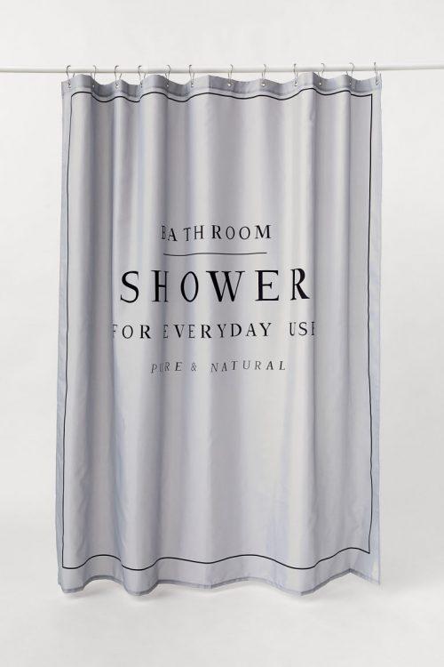 エイチアンドエム ホーム(H&M HOME) テキストプリントシャワーカーテン