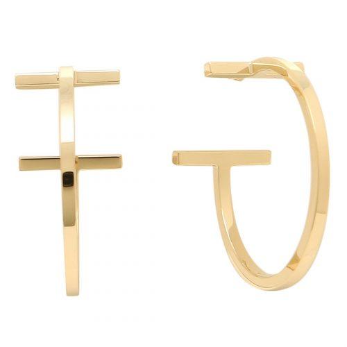 ティファニー(Tiffany & Co.) ティファニーT ワイヤー フープ ピアス K18YG