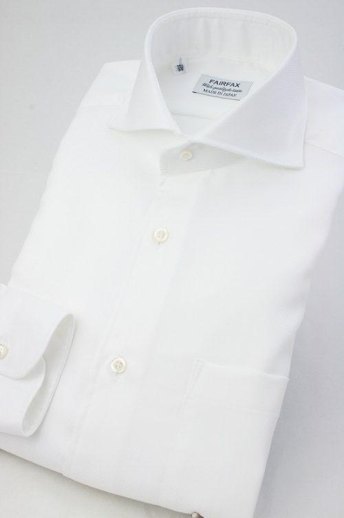 フェアファックス(FAIRFAX) ヘリンボーン無地 ホリゾンタルワイドカラー ドレスシャツ
