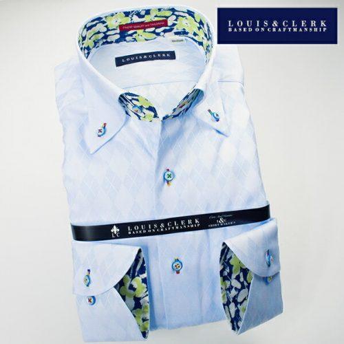 ルイス&クラーク(Louis&Clerk) 1611 国産長袖綿100ドレスシャツ ボタンダウンカラー スカイブルージャガードアーガイルチェック柄