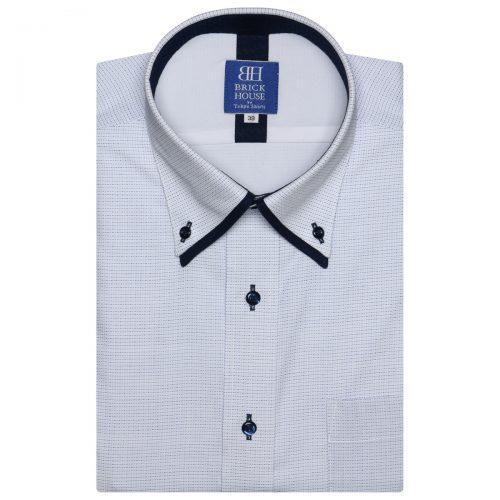 ブリックハウス (BRICK HOUSE) フォーマルワイシャツ 半袖 形態安定 フィットインナー ボタンダウン ダブルカラー