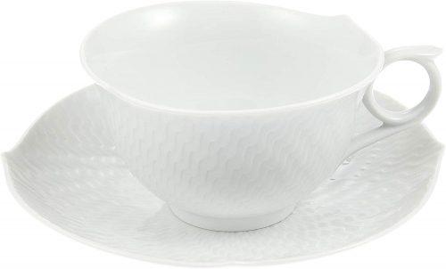 マイセン(MEISSEN) 波の戯れ ホワイト ティーカップ&ソーサー 29633