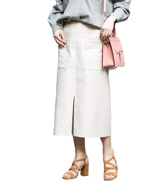 アーバンリサーチロッソ(URBAN RESEARCH ROSSO) ストレッチリネンタイトスカート