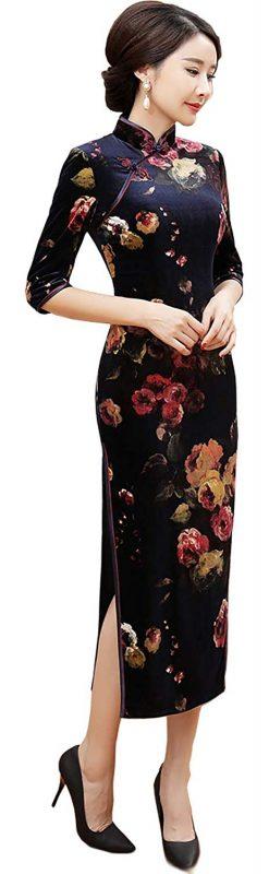 シービーシーパワー(CBCPOWER) ベルベット花柄チャイナドレス