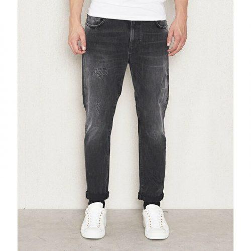 ヌーディージーンズ(Nudie Jeans) オーガニックコットンダメージ加工テーパードジーンズ BLACK TURMOIL