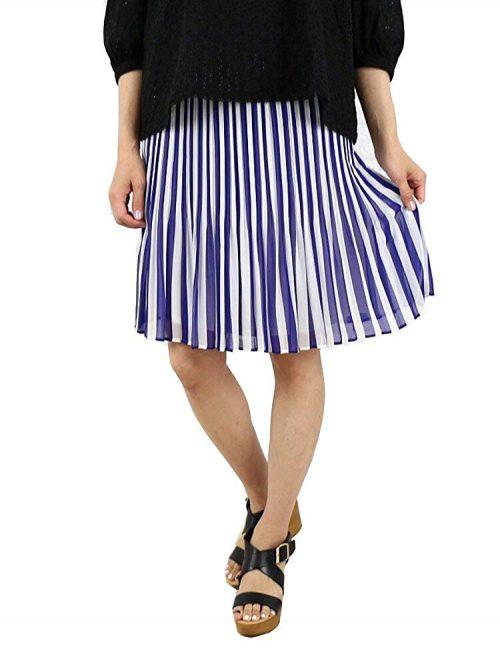 ニーム(NIMES) 膝丈ストライププリーツスカート