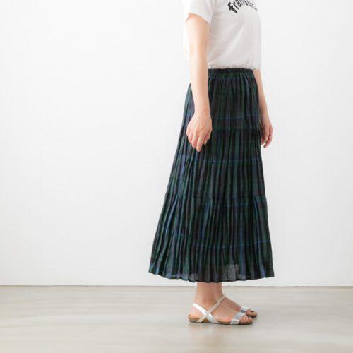 ロック マウント(ROCK MOUNT) リネン チェック ティアード スカート SP9999