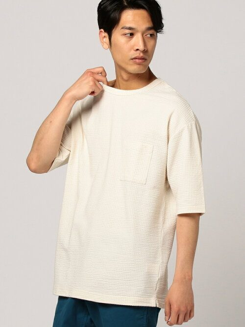 ビーミングバイビームス(B:MING by BEAMS) シアサッカーポケットTシャツ