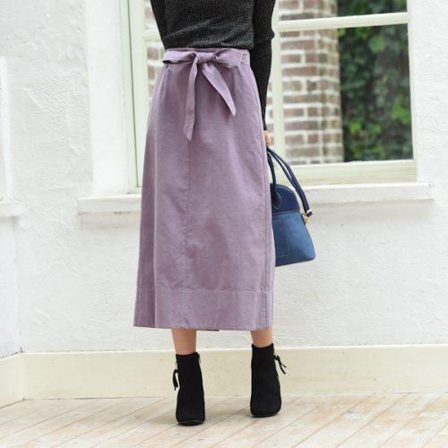 アールユー(ru) コーデュロイ素材リボン付きAラインスカート