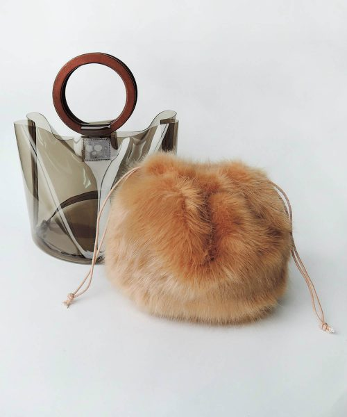 ミニア(minia) ファー巾着付きクリアバケツバッグ