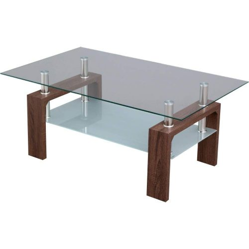 アイリスプラザ(IRIS PLAZA) ガラスローテーブル ウォルナット