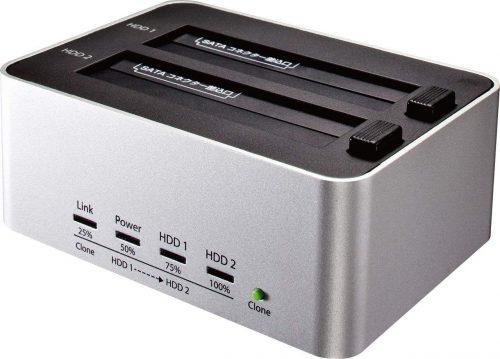玄人志向 コピー対応 USB3.0接続 3.5/2.5型 SATA SSD/HDDx2 スタンド(シルバー) KURO-DACHI/CLONE/U3