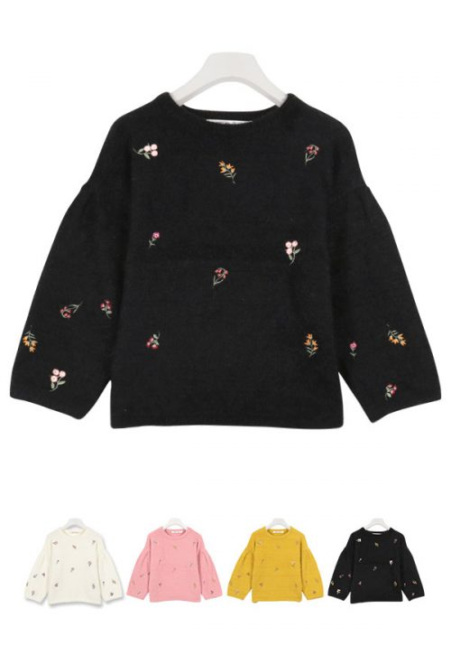神戸レタス(KOBE LETTUCE) 刺繍シャギーニット