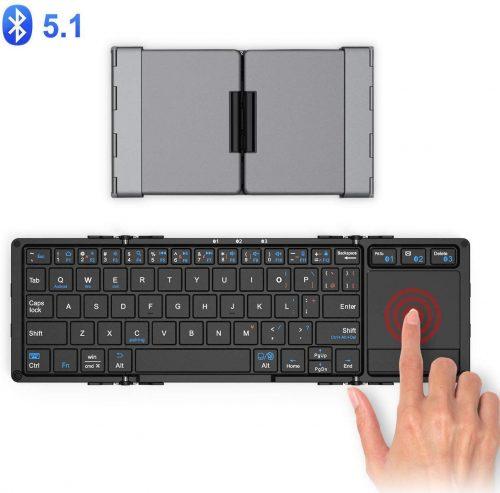 iClever Bluetooth 折りたたみ式ミニキーボード タッチパッド IC-BK08