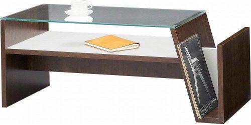 マガジンラック付き ガラステーブル
