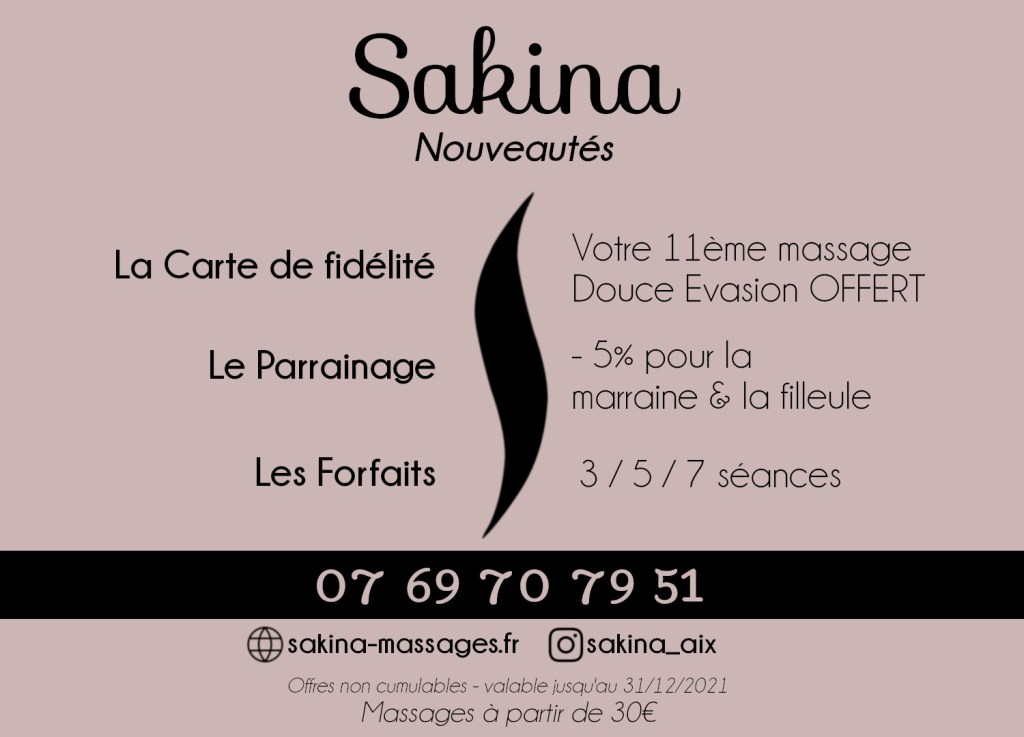 Nouveautés Sakina Massages