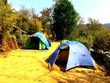The volunteers are camped out for the duration of their stay in Takure.