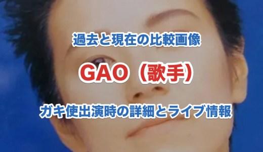 GAO(歌手)の経歴や過去と現在の画像比較|ガキの使い出演時の情報と今後のライブ情報
