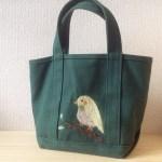 羊毛刺繍で鳥さんバッグに