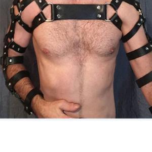 Erkek Fantazi Giyim Deri Kol ve Göğüs Harness  APFTM5