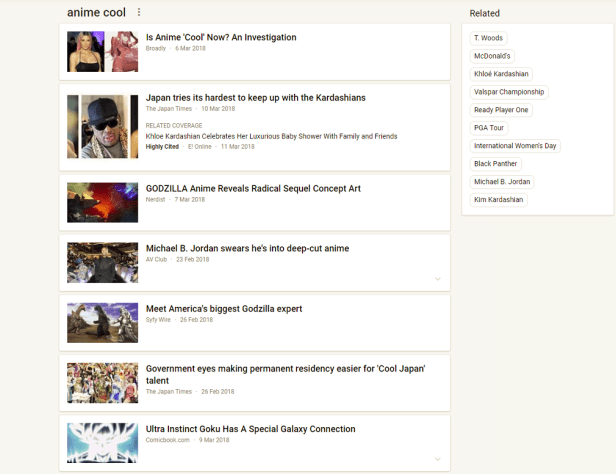 Google News Anime Cool Feed