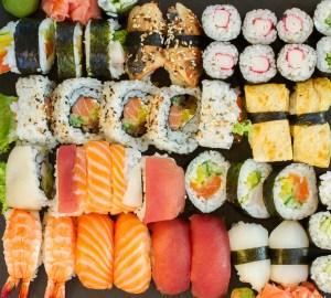 Big set of Japanese nigiri and roll sushi dish