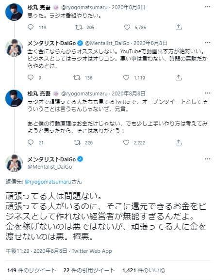 DaiGoメンタリスト発言Twitter