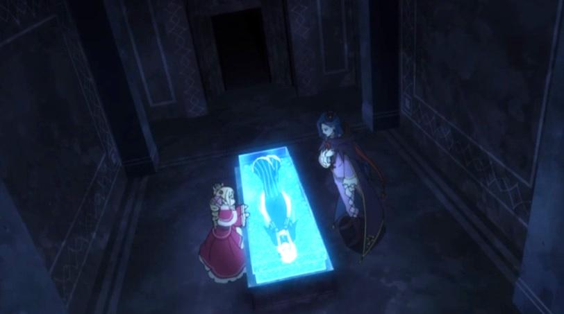 墓所内エキドナの棺を囲う ロズワールとベアトリス