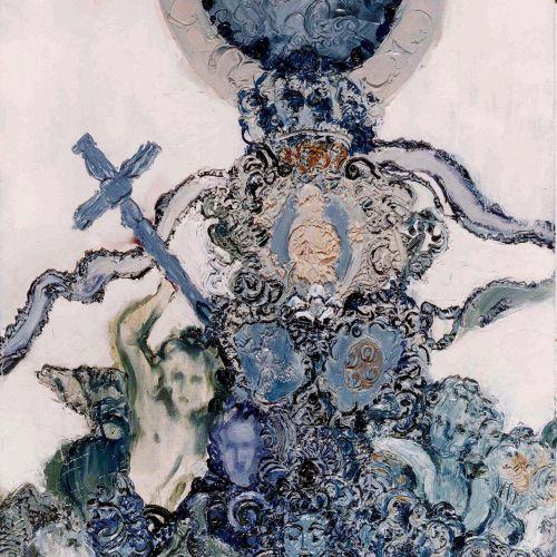Adriana Varejão, Frontispício, 1988, óleo sobre tela, 180 x 120 cm. Foto: Vicente de Mello/ Acervo Atelier Adriana Varejão