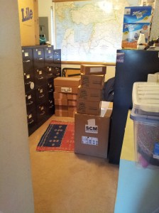 Boxes of medical supplies that arrived today