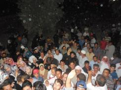 The crowd of people waiting to receive their food packages outside our warehouse in Madaba, Jordan