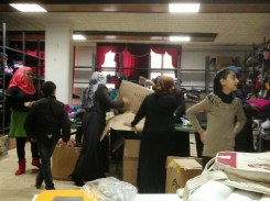 Distribution of the newly arrived clothes and supplies