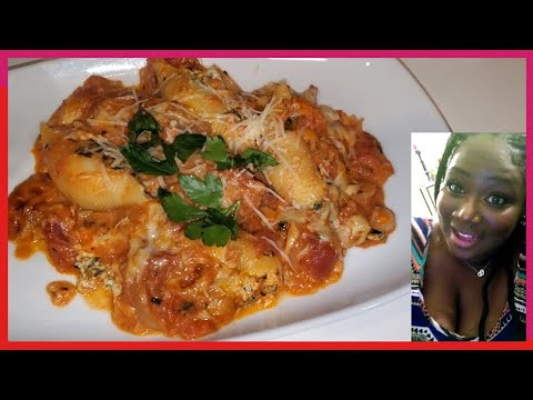 Homemade Shrimp Stuffed Shells with Tossed Salad Recipe | Valentine's Day |