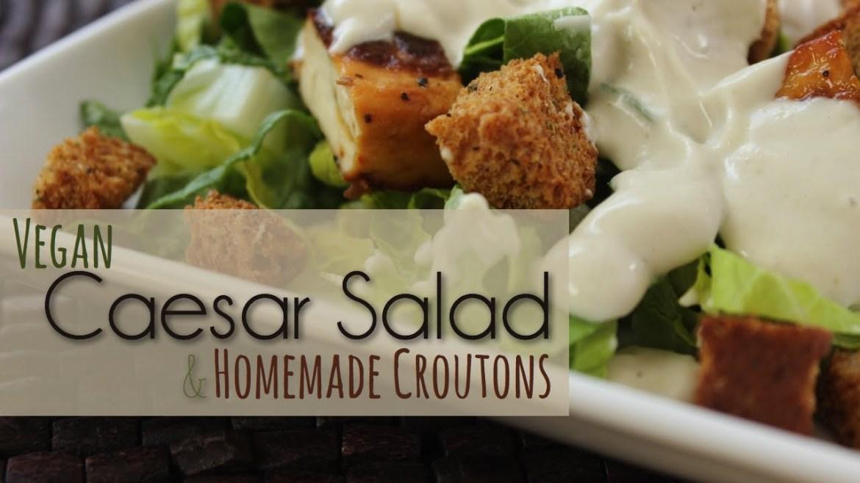 Vegan Caesar Salad with Homemade Croutons