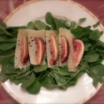 watercress with figs and sheeps cheese with classic vinaigrette