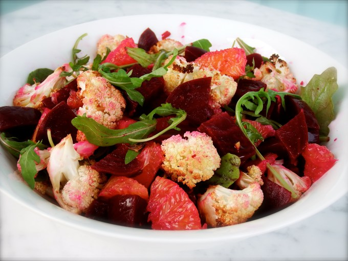 Beets, Oranges And Roasted Cauliflower With Garlic Vinaigrette Dressing