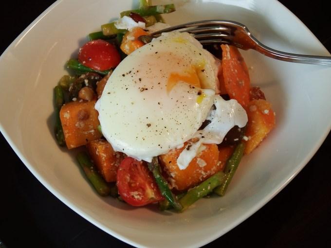 Asparagus & Butternut Squash Salad, Poached Eggs & Pomegranate Vinaigrette