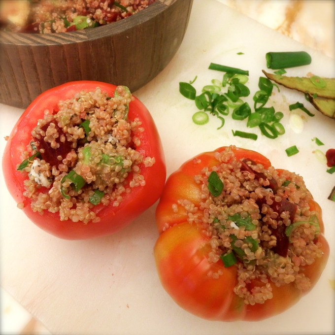 Quinoa Stuffed Tomatoes – Green Onion Vinaigrette