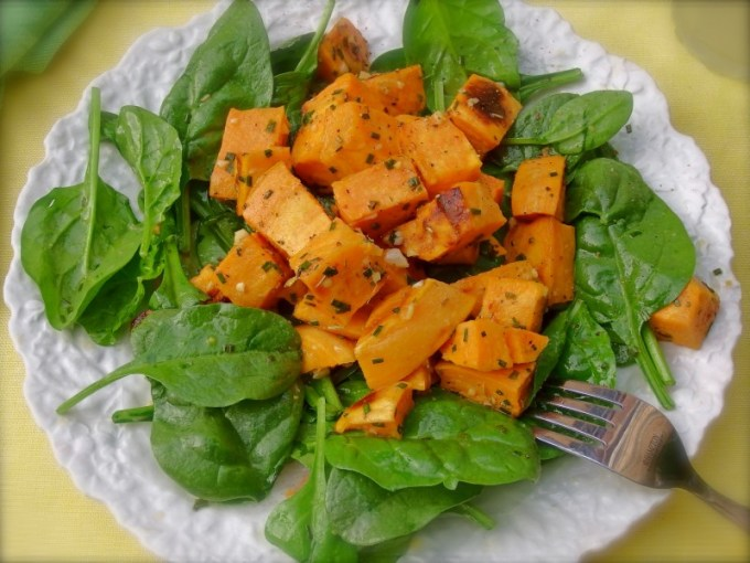 Roasted Sweet Potatoes & Spinach with Apple Honey Vinaigrette