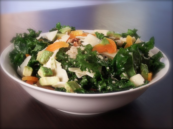 Knife's Kalenoa Salad with Avocado, Parmesan Cheese & Dried Apricots