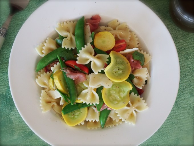 Pasta Salad With Sugar Snap Peas, Prosciutto & Balsamic Vinaigrette