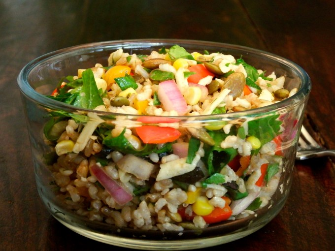 Brown Rice & Veggie Salad With Cumin Vinaigrette