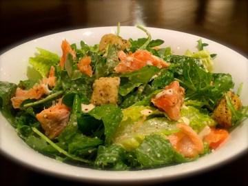 salmon salad with olive tofu dressing