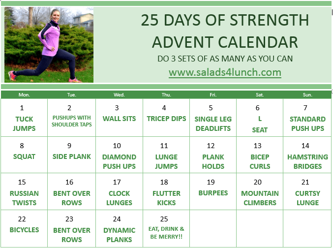 25 Days of Strength Advent calendar - 25 different strength moves to count down to Christmas